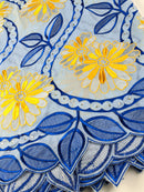 Blue, Silver & Yellow Cotton Lace