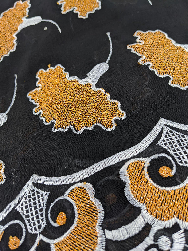 Black & Orange Cotton Lace