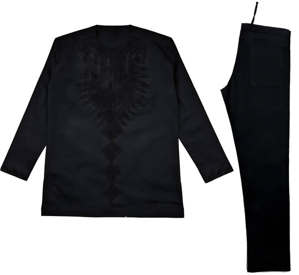 Black Men Embroidery Long Sleeve Set