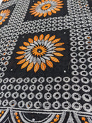 Black, White & Orange Cotton Lace