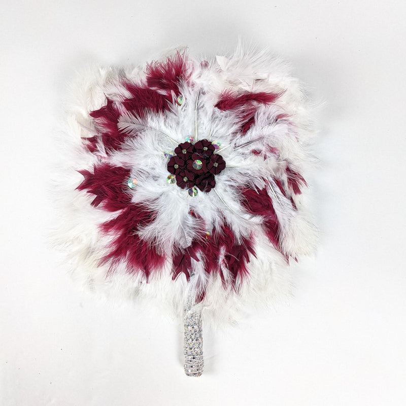 White & Pink Traditional Wedding Hand Fan