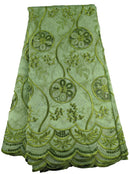 Green Organza Cotton Lace