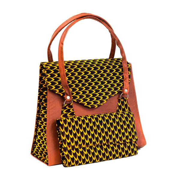 Brown Ankara Bag Set