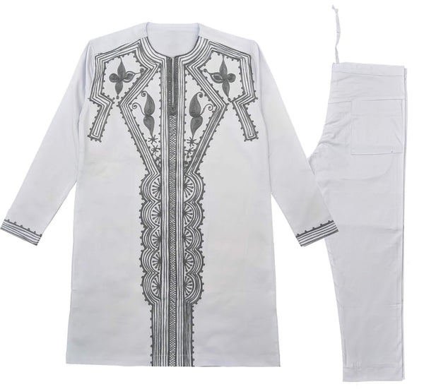 White & Black Men Embroidery Long Sleeve Set