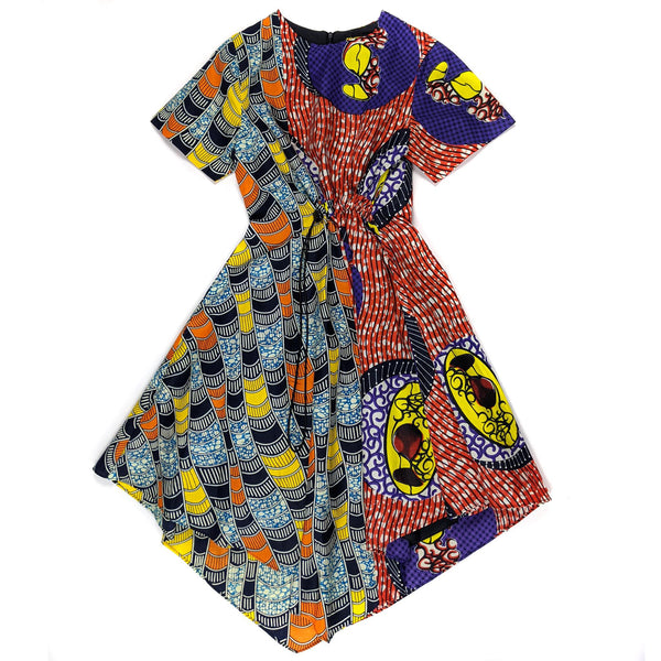 Ankara Mix n Match Unbalanced Dress