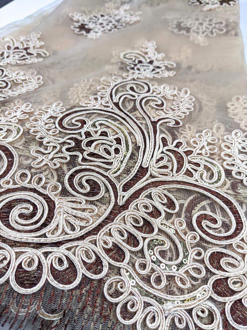 Gold & Bronze Cord Net Lace