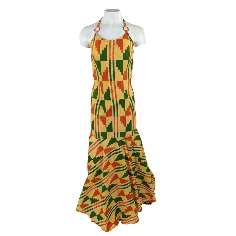 Long Kente Mermaid Tail Alter-Neck Dress