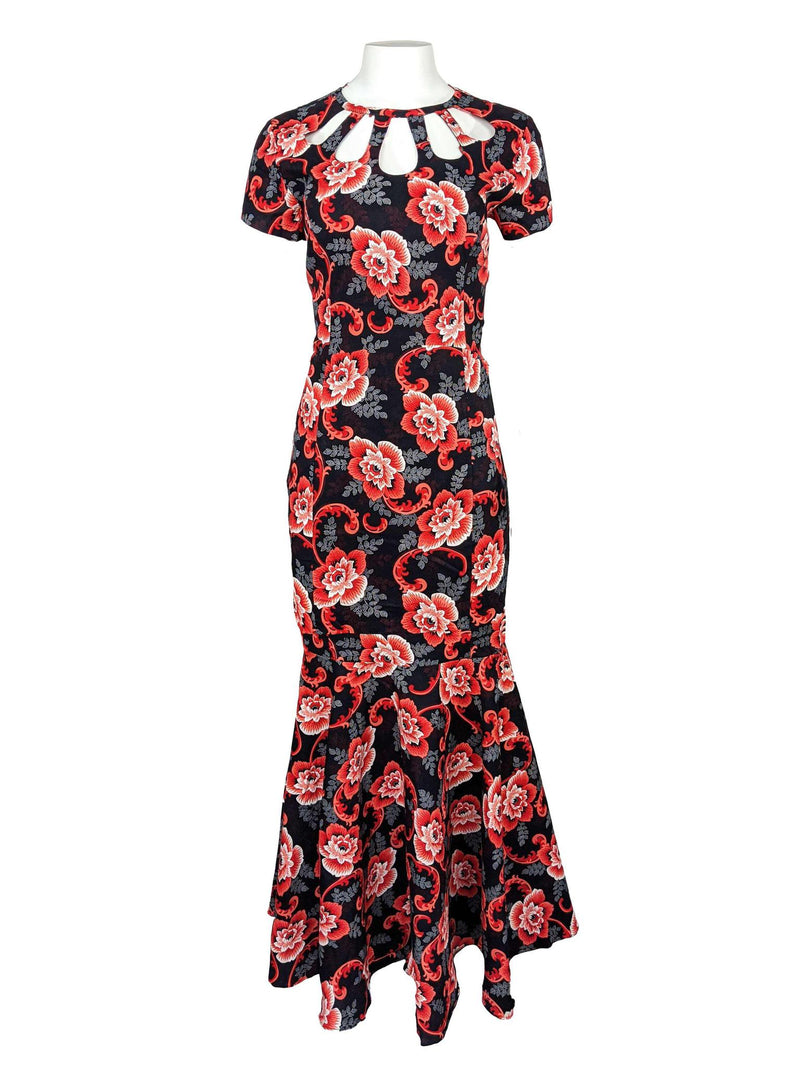 Women's Long Fitted Dress With Peplum Flair