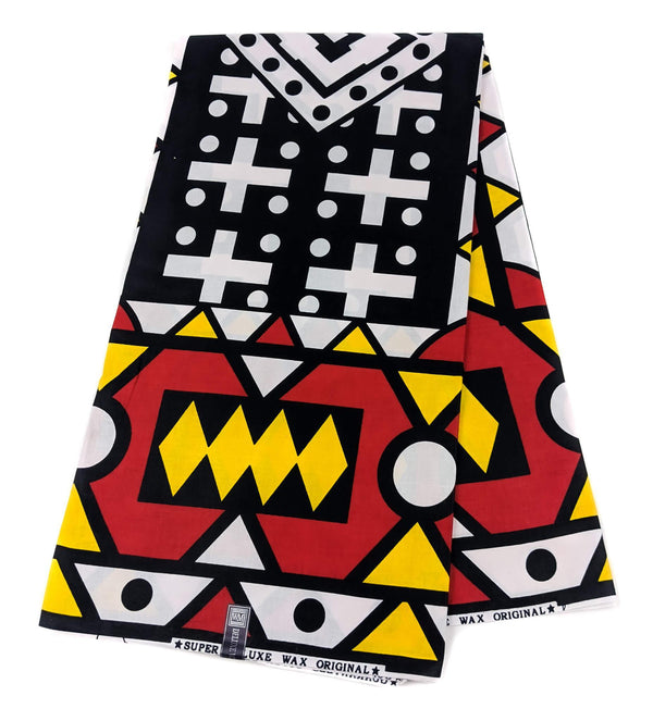 Red and Yellow Geometric African Wax Fabric