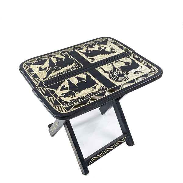 Handcrafted Rectangular Carved Wood Folding Table