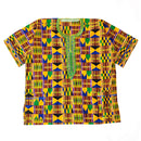 Kente Shirt with Neckline Embroidery