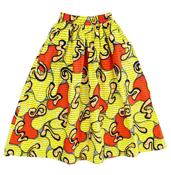 Handmade Yellow Multi Ankara Print Midi Skirt