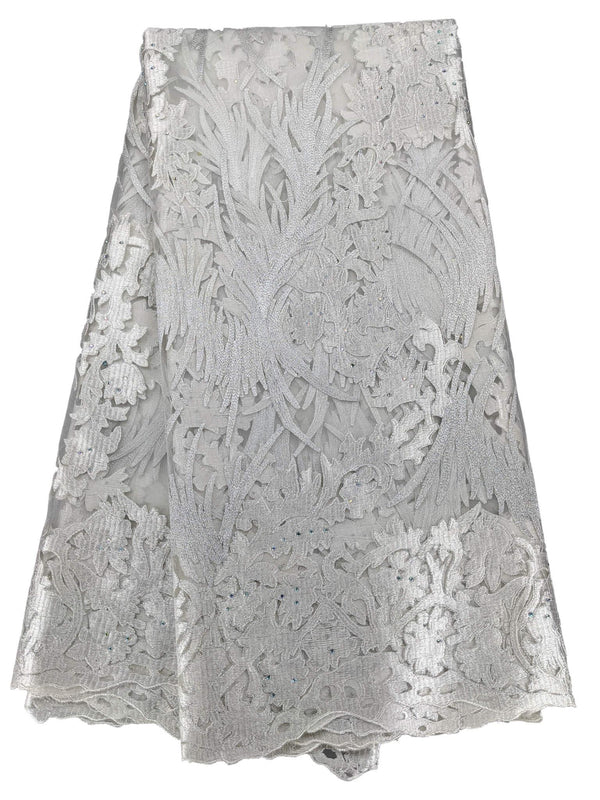 White & Silver French Net Lace