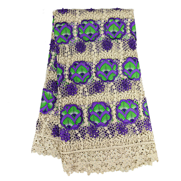 Purple & Green African Wax with Cord Lace Fabric - 5 yards