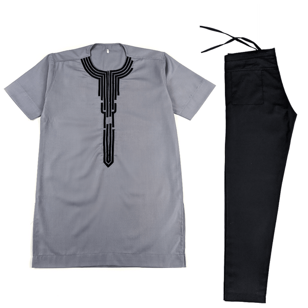 Grey & Black Short Sleeve Set
