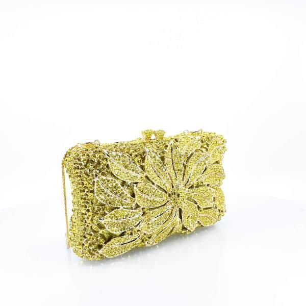 Yellow Crystal Floral Clutch Purse