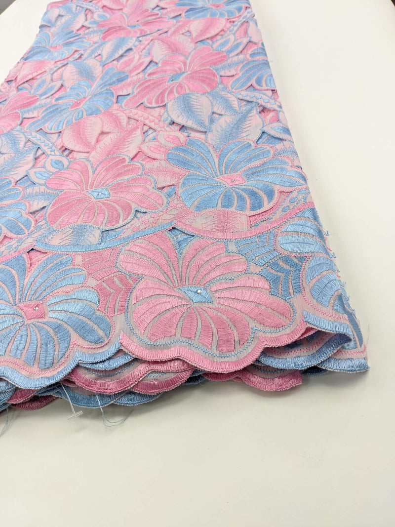 Pink & Blue Handcut Cotton Lace