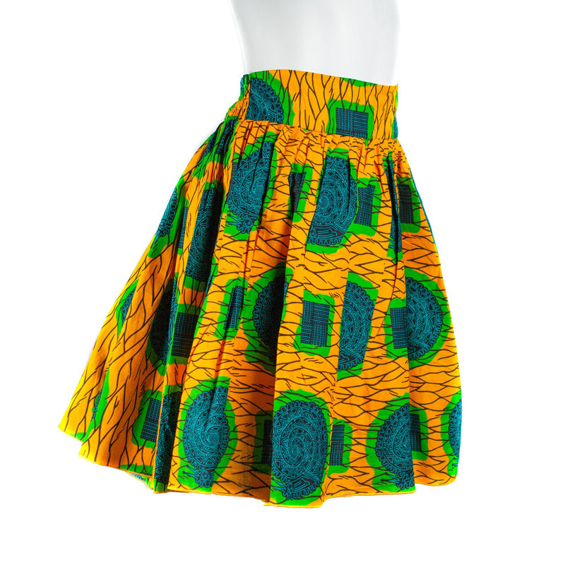 Yellow & Green Ankara Wax Skirt