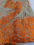 Orange & Gold French Net Lace