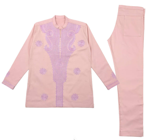 Peach & Pink Men Embroidery Long Sleeve Set
