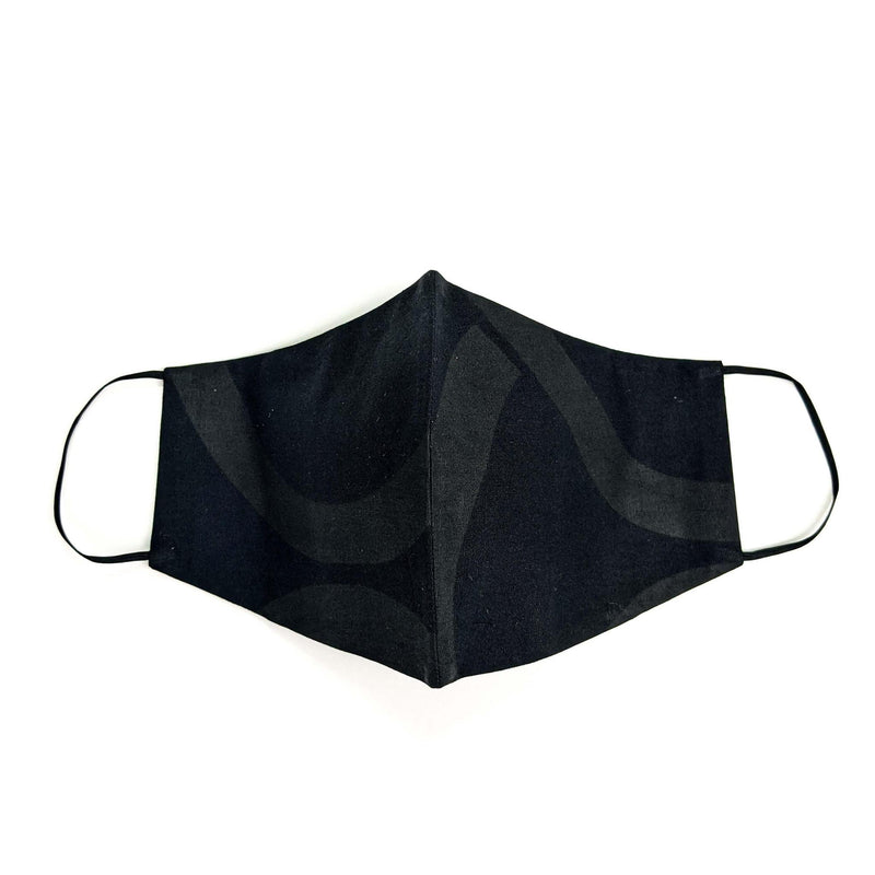 Pre-washed Black Ankara Face Mask with Disposal Filters