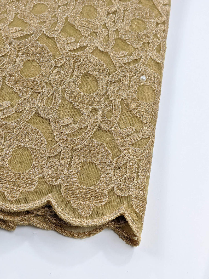 Gold Tulle Lace Fabric