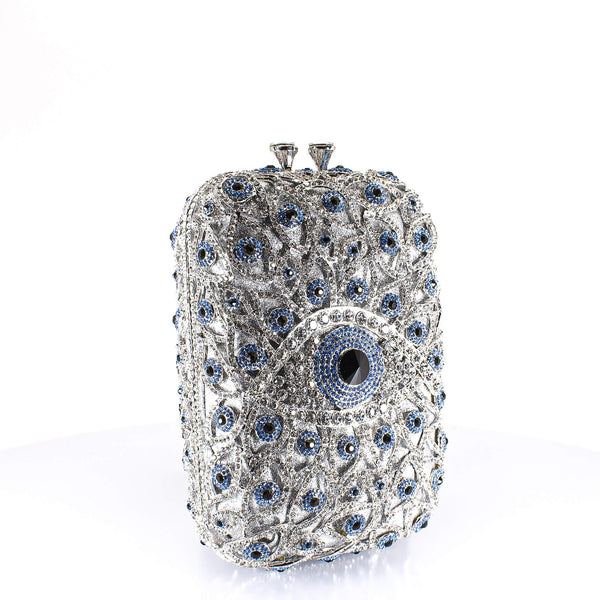 Silver All Eyes On Me Clutch Purse