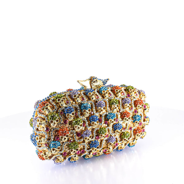 Multicolored Crystal & Bones Clutch Purse
