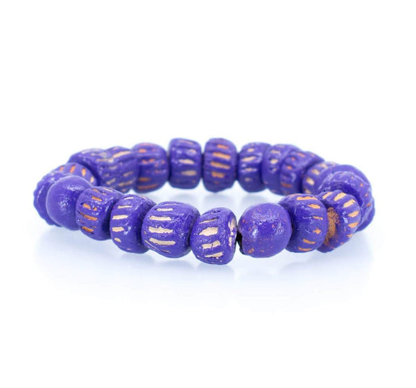 Purple African Clay Bead Bracelet
