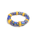 Blue and Yellow (Krobo Beads) Recycled Glass Beads Bracelet