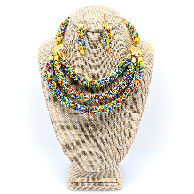 Multi-Colored Beaded Kenyan Necklace Set