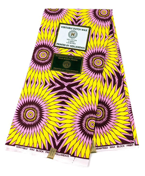 Yellow and Pink Floral African Wax Print