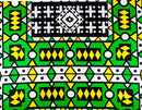 Green and Yellow Geometric African Wax Fabric