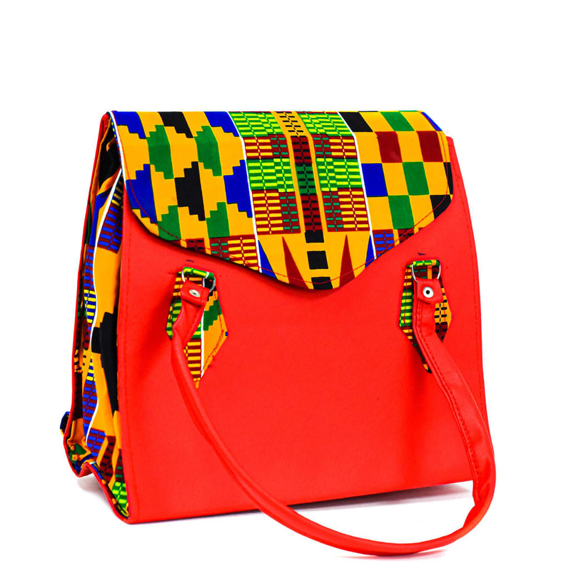Red Kente Bag Set