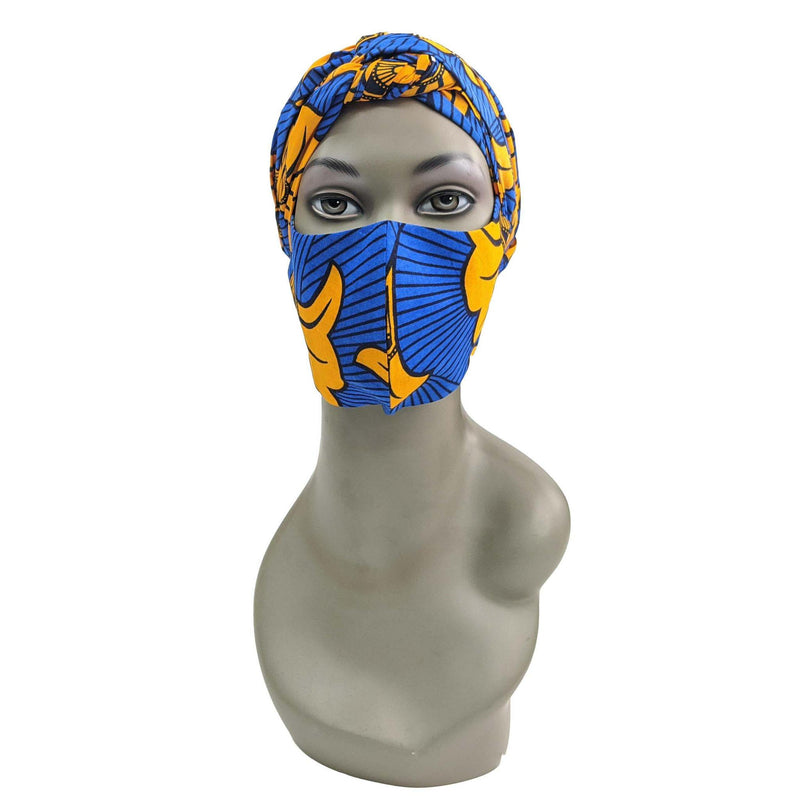 Blue and Orange Handmade Ankara Cloth Face Mask with Head Scarf and PM 2.5 Face Cover Disposal Filters