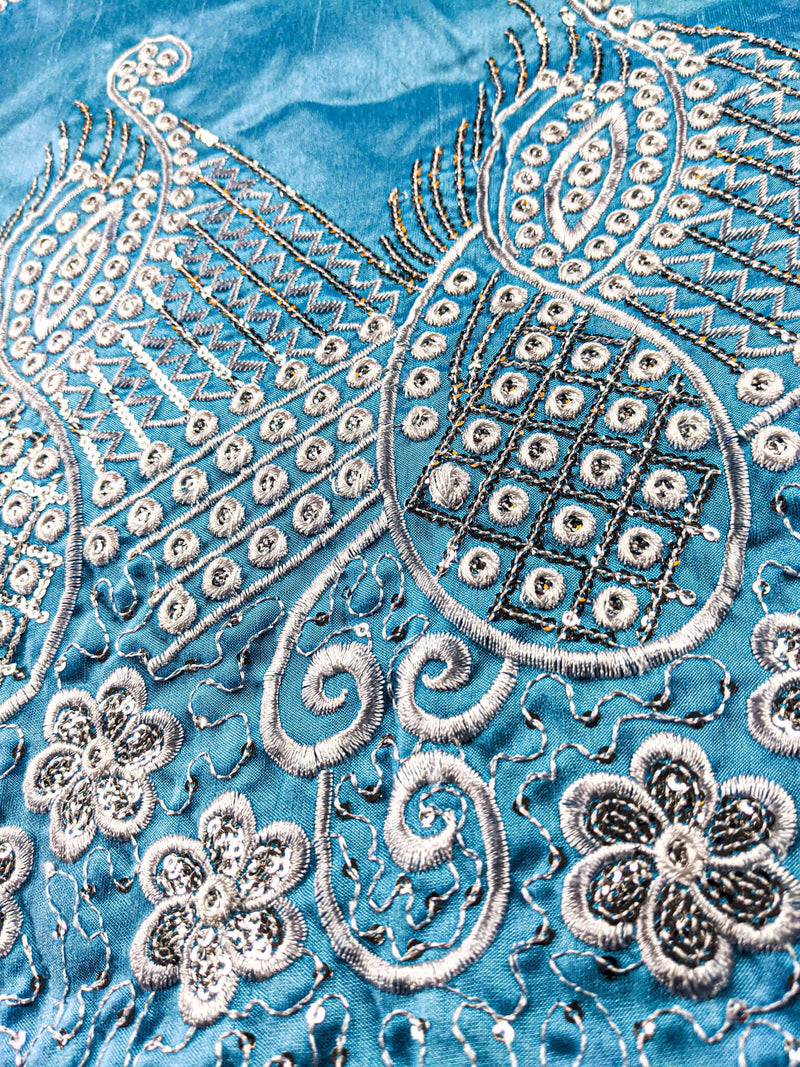 Blue & Silver Cotton Linen George Fabric