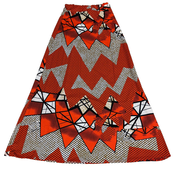 Orange & Black Print Long Skirt