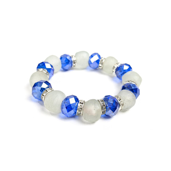 White Krobo Bracelet with Blue Crystals