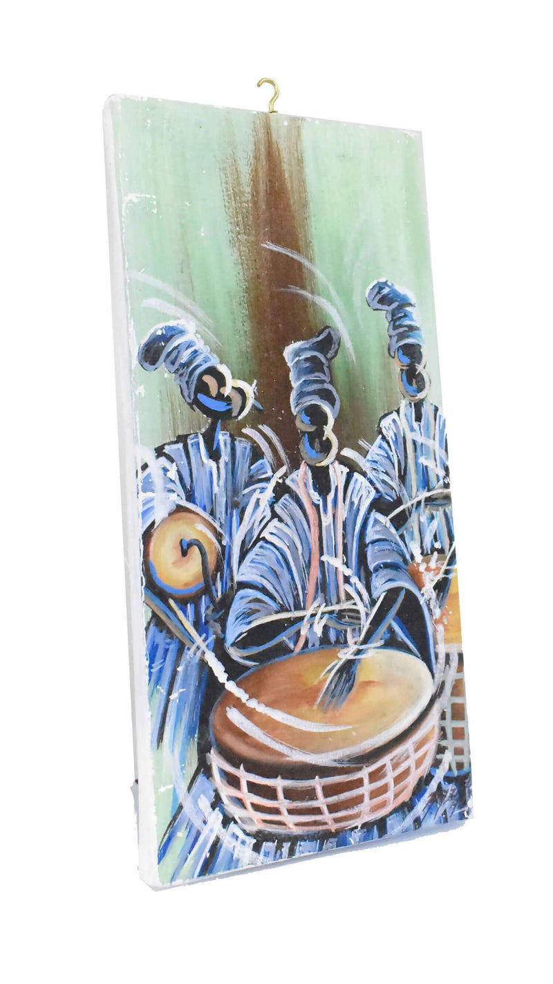"African Folk Art Canvas Paint ""Yoruba Drummers"" - AFRIKAN ATTIRE -"