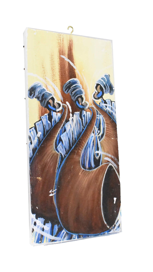 "African Folk Art Canvas Paint ""Yoruba Horn Blowers"" - AFRIKAN ATTIRE - #african_clothing - WALL DECOR"