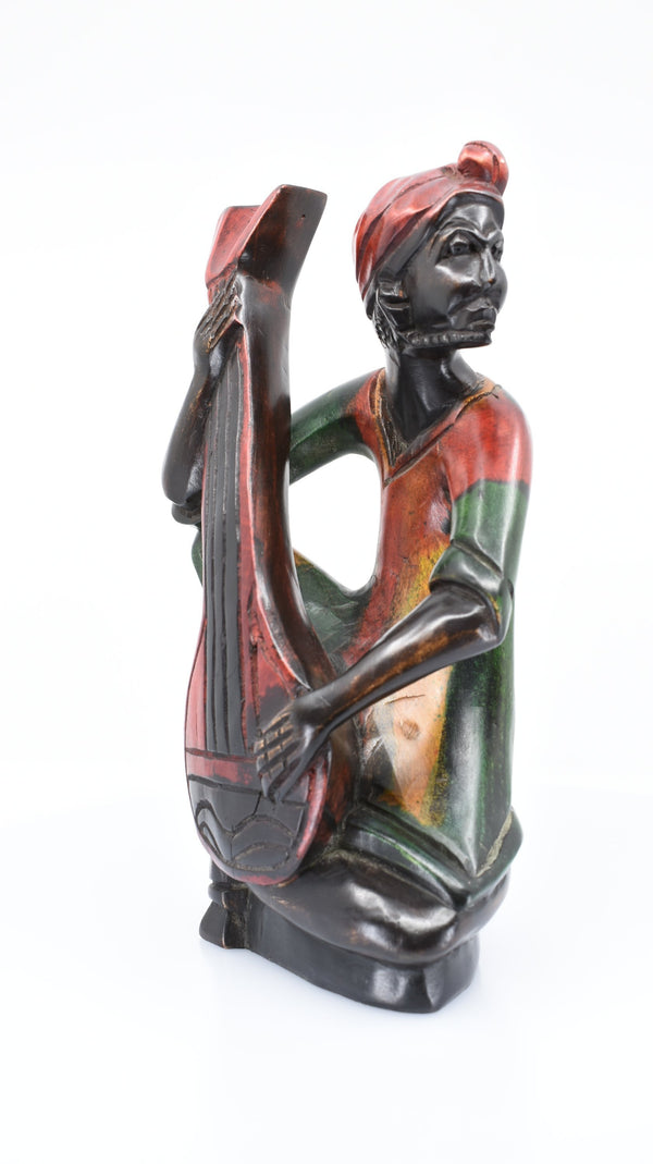 African Guitar Player Woodwork - AFRIKAN ATTIRE - #african_clothing -