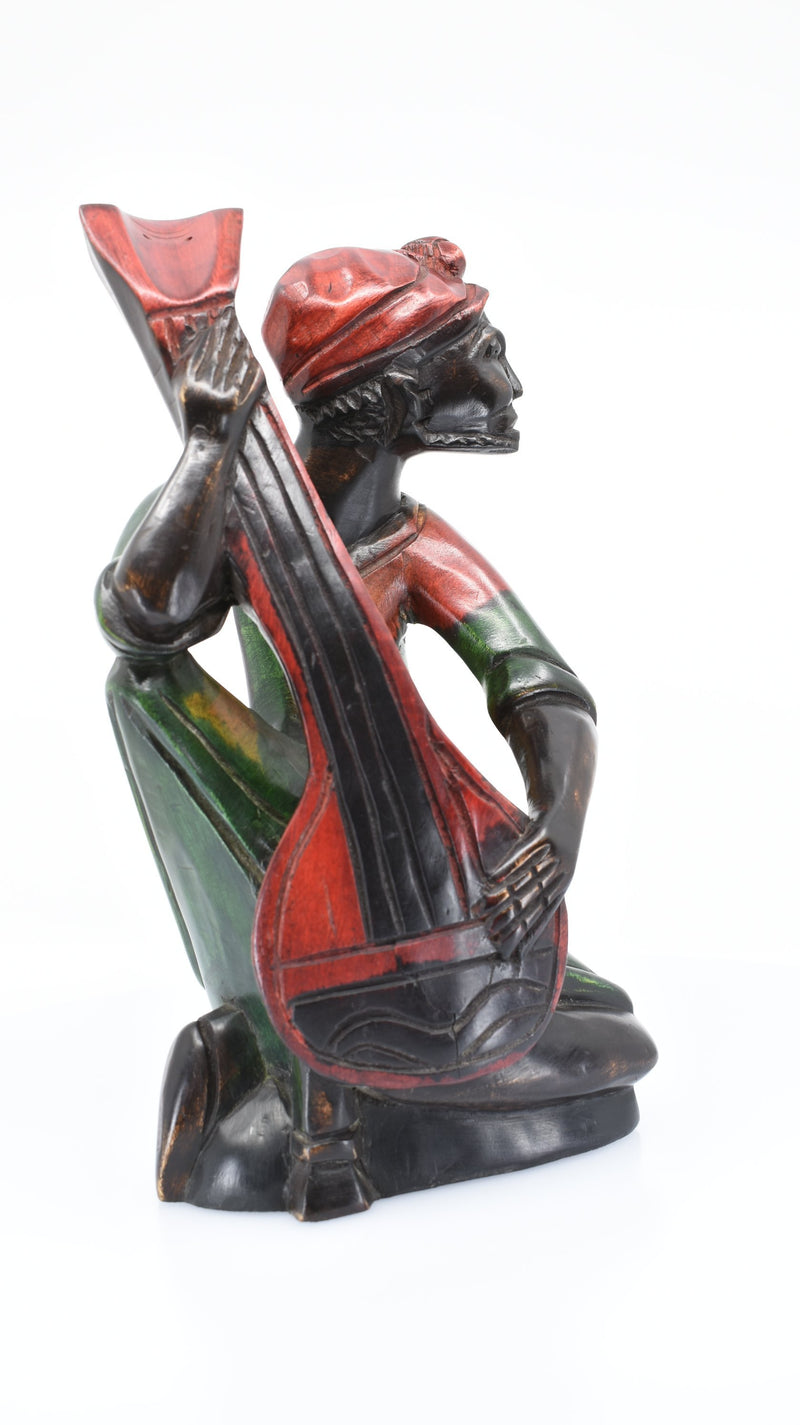 African Guitar Player Woodwork - AFRIKAN ATTIRE -