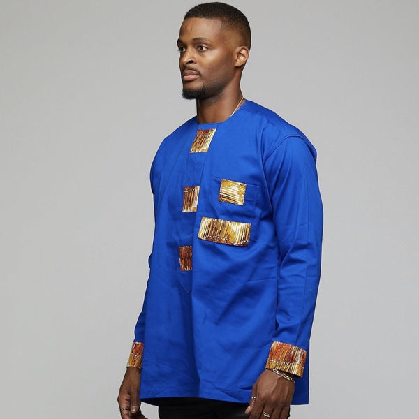 African Long Sleeve w/Ankara Patches - AFRIKAN ATTIRE - #african_clothing -