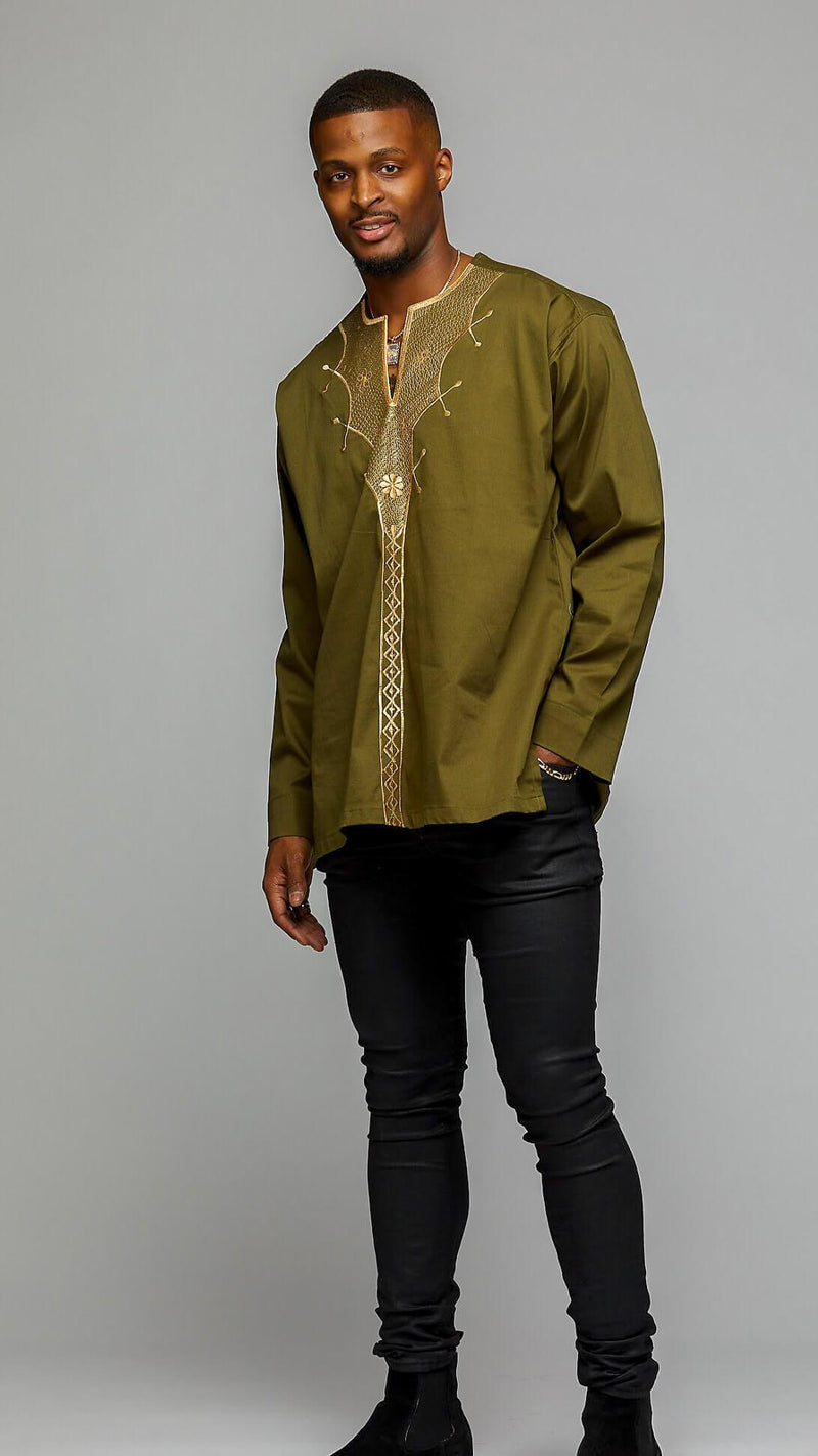 African Long Sleeve w/Gold Embroidery - AFRIKAN ATTIRE -
