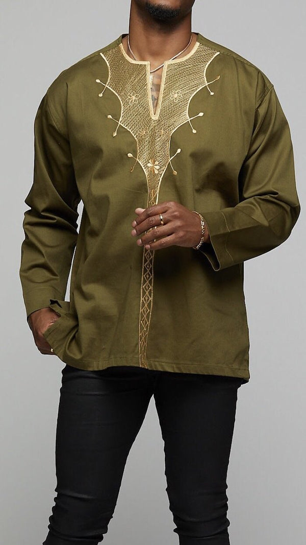 African Long Sleeve w/Gold Embroidery - AFRIKAN ATTIRE - #african_clothing -