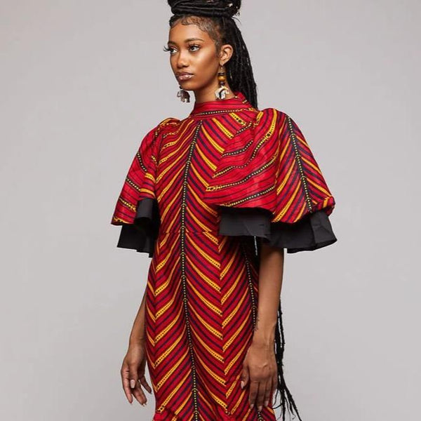$$African Long Wax Trim Dress - AFRIKAN ATTIRE - african_clothing - Apparel - african_attireAFRIKAN ATTIRE - african_fashion