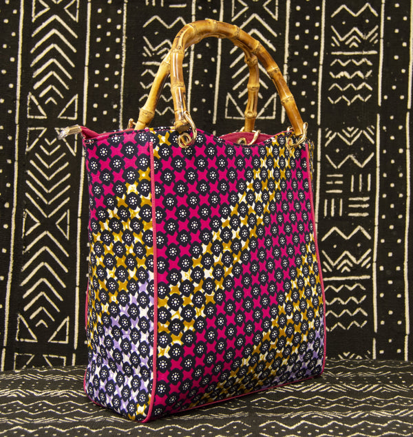 Ankara Handbag w/Bamboo Handle - AFRIKAN ATTIRE - #african_clothing -