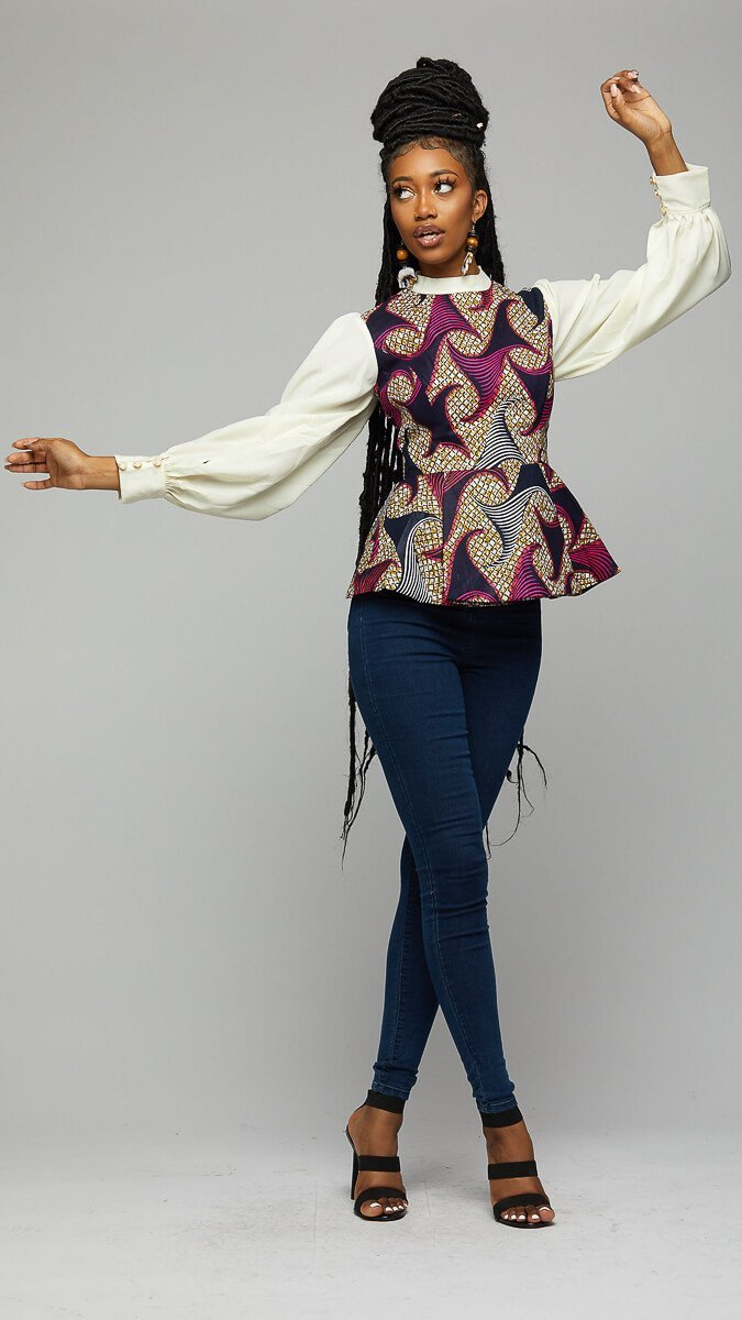$$ Ankara Shirt w/Chiffon Sleeves - AFRIKAN ATTIRE - african_clothing - Apparel - african_attireAFRIKAN ATTIRE - african_fashion