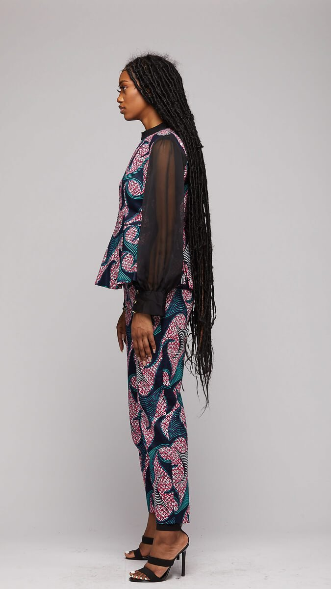 $$Ankara Suit w/Chiffon Sleeves - AFRIKAN ATTIRE - african_clothing - Apparel - african_attireAFRIKAN ATTIRE - african_fashion
