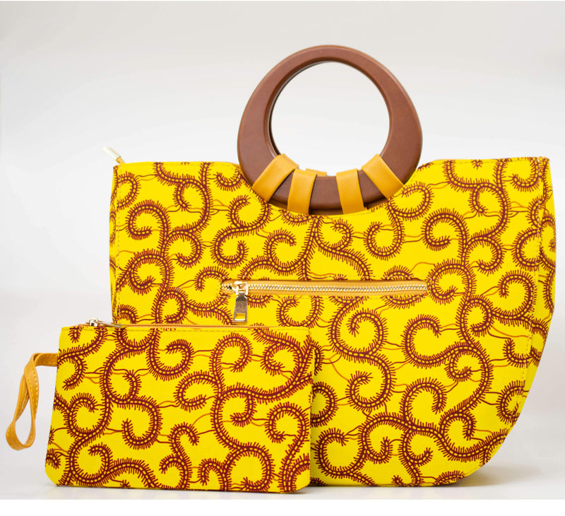 Ankara Wood Handle Tote - AFRIKAN ATTIRE - african_clothing - Handbags - african_attireAFRIKAN ATTIRE - african_fashion